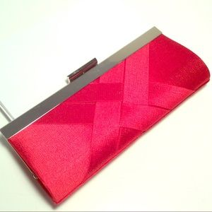 NEW Lulu Townsend Red Woven Clutch w/Silver Chain